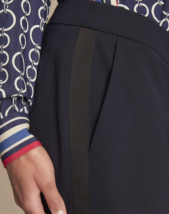Marineblaue Damen-Anzughose mit Seitenstreifen Suzanne (3) - 1-2-3