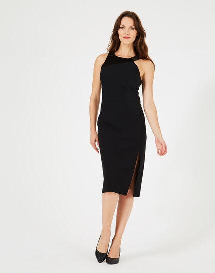 Schwarzes Schlitz-Kleid mit Strass-Ausschnitt Grenade (1) - 1-2-3