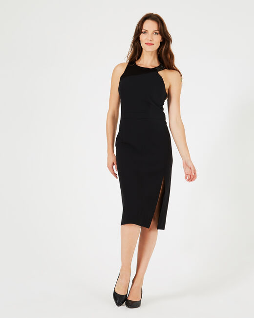 Grenade black dress with diamanté neckline (2) - 1-2-3