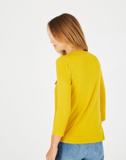 Leden yellow dual-fabric T-shirt (4) - 1-2-3