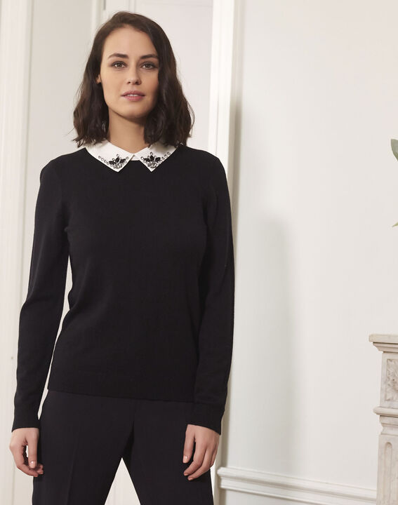 Beads black jewelled pullover with shirt-style collar (1) - Maison 123