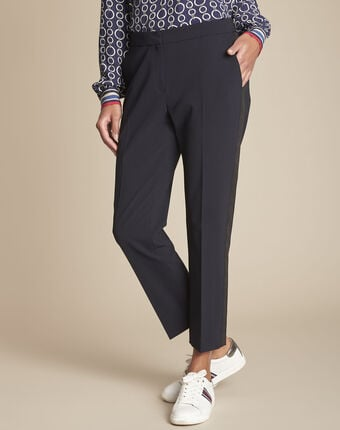 Suzanne tailored navy trousers with lateral band navy.