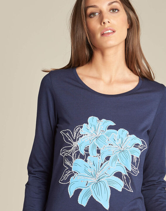 Enoopsy navy blue T-shirt with floral print PhotoZ | 1-2-3