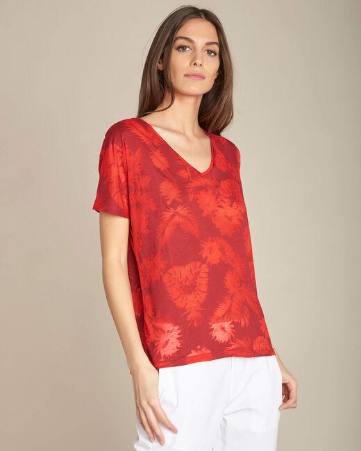 Tee-shirt rouge imprimé palmier Eflore (2) - 1-2-3