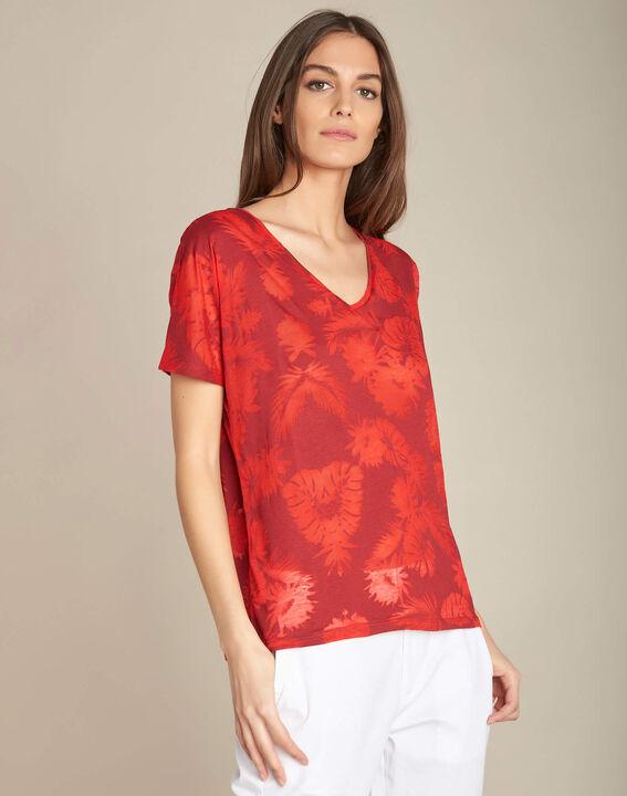 Rotes T-Shirt mit Palmenprint Eflore (3) - 1-2-3
