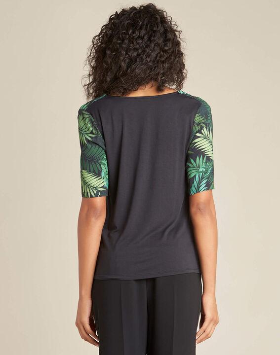 Miledine palm tree print dual-fabric blouse (4) - 1-2-3