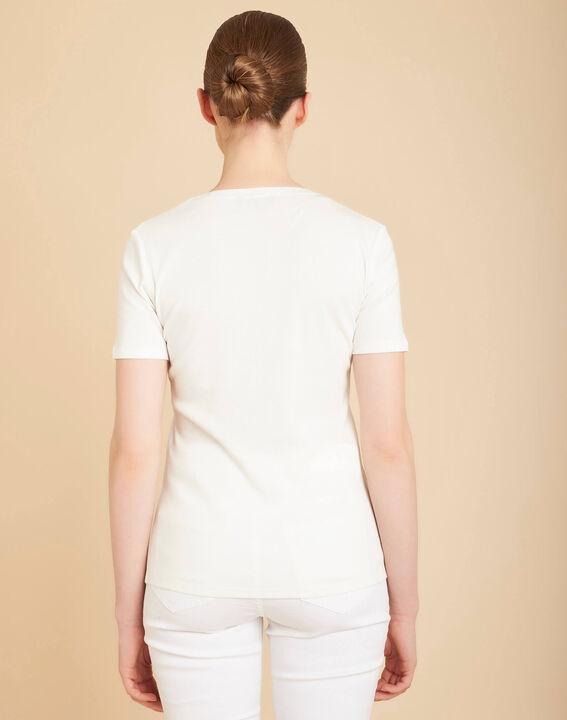 Tee-shirt ecru col mao à perles Episod (4) - 1-2-3