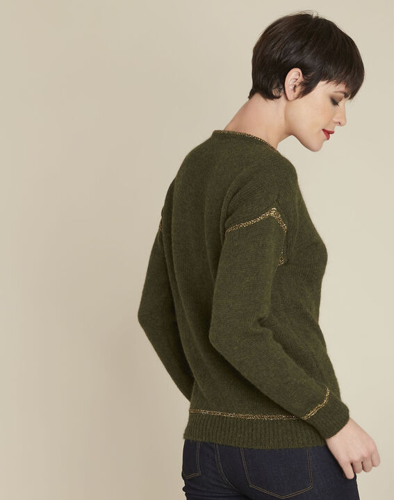 Bindies khaki pullover with gold band detail (4) - 1-2-3