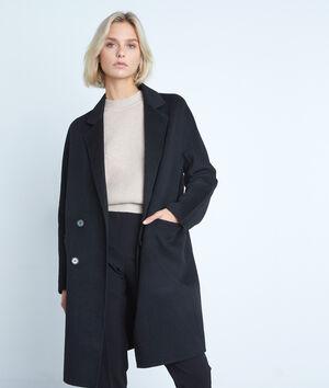 Manteau en laine texturé noir Lina