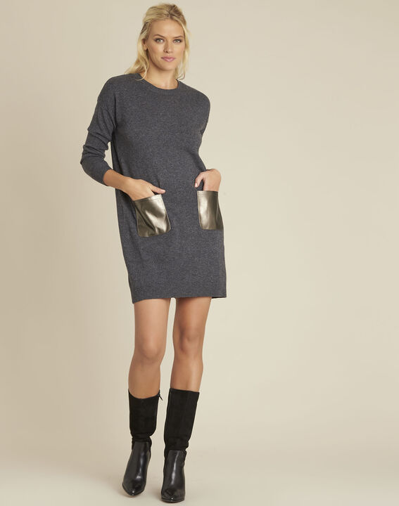 Baltus grey knit dress with faux leather pocket (2) - Maison 123