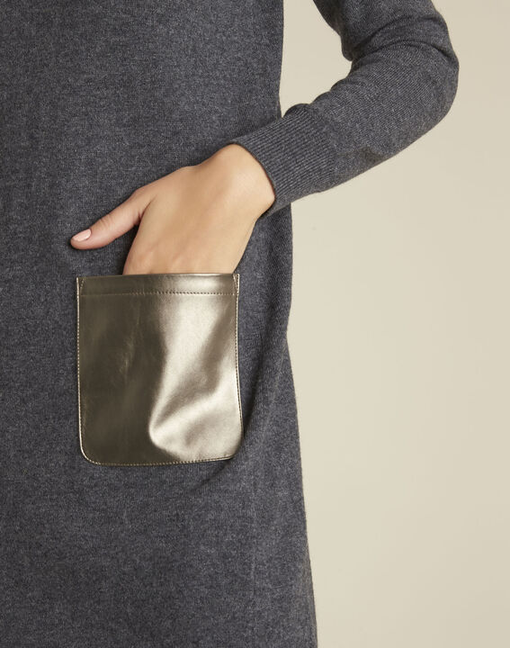 Robe grise poche faux cuir en maille Baltus (3) - 37653