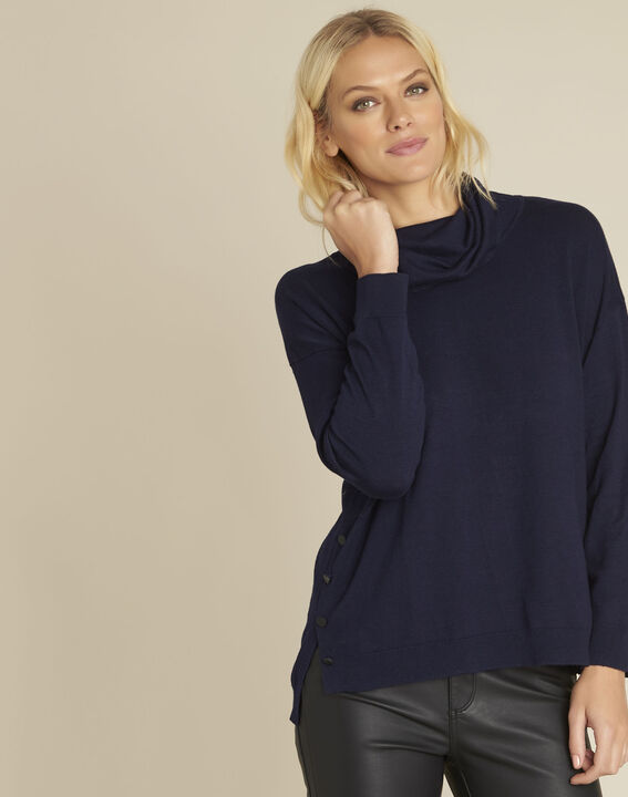 Blaise navy cowl neck pullover PhotoZ | 1-2-3