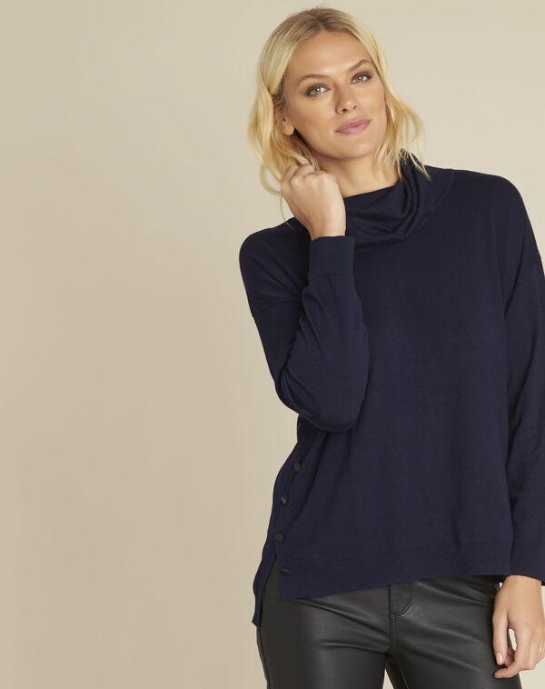 Donkerblauwe trui met bolkraag Blaise (1) - 37653