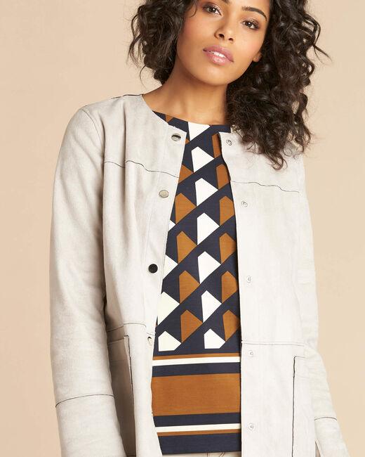 Manteau long écru façon peau lainée Fabiana (2) - 1-2-3