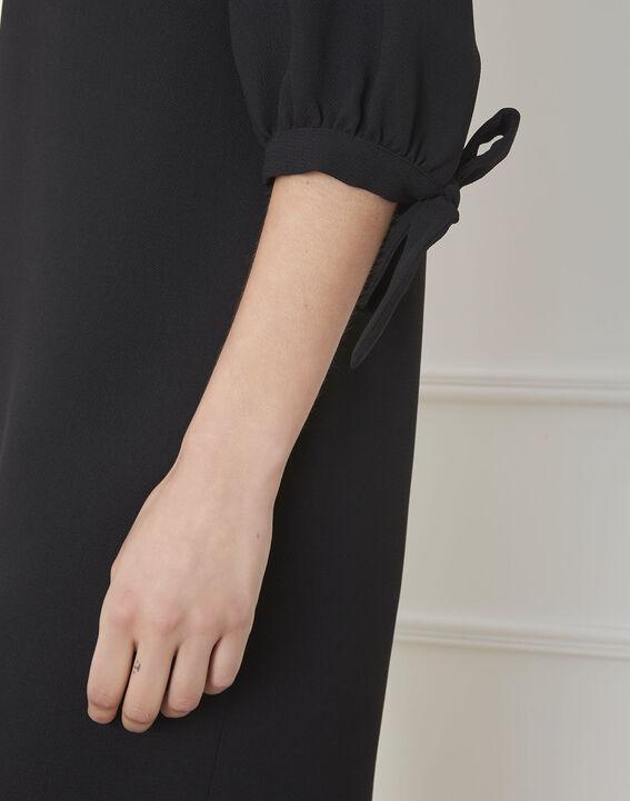 Robe noire crêpe noeuds manches Loumia (2) - Maison 123