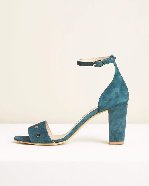 Klen green suede-effect heeled sandals (2) - 1-2-3