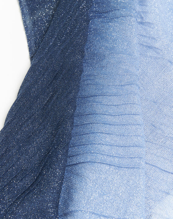 French iridescent navy blue scarf (2) - 1-2-3