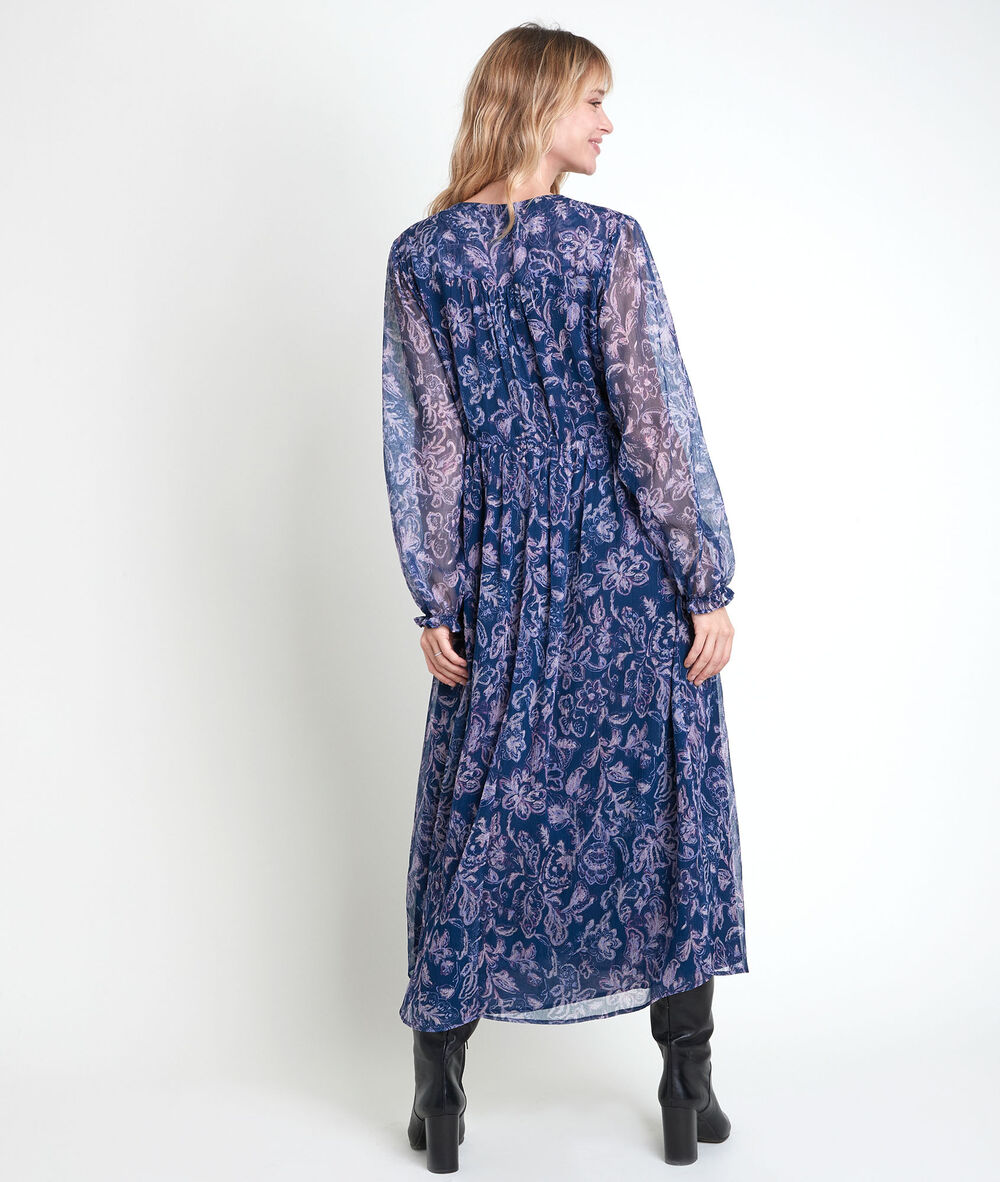 langes, blaues kleid mit printmuster louise damen | maison 123