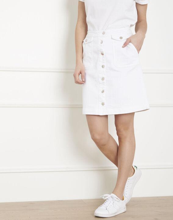 Jupe blanche en jean boutonnée Ambre (2) - Maison 123