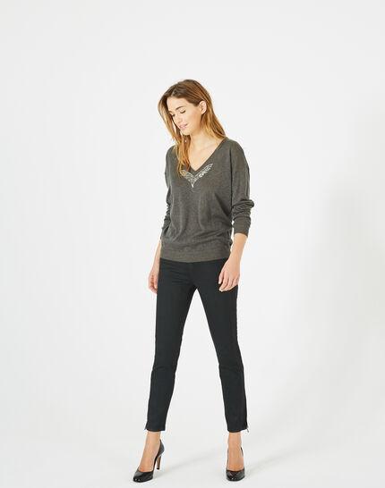 Phoenix shiny khaki sweater with open back PhotoZ | 1-2-3