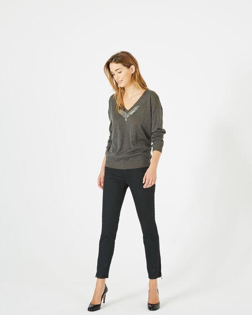 Phoenix shiny khaki sweater with open back (1) - 1-2-3