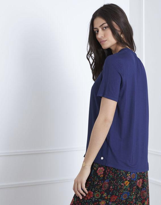 Marineblauwe blouse met vetersluiting aan de hals Viola (4) - Maison 123