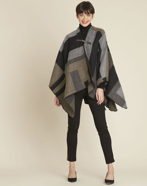 Fidele anthracite checked poncho (3) - 1-2-3