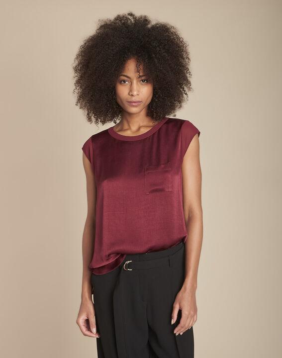 Granaatrode blouse uit twee materialen met satijn vooraan Mayssa PhotoZ | 1-2-3