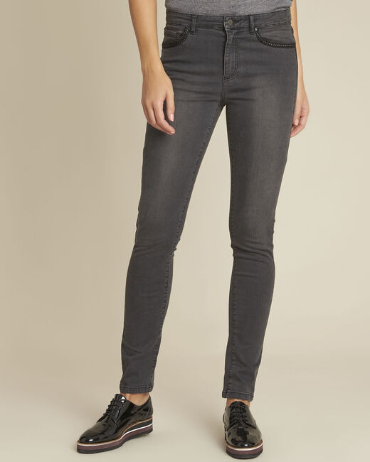 Vendome grey slim-cut jeans with braiding on the pockets (2) - 1-2-3