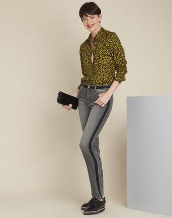 Gelbe bluse mit laub-druckmuster ravel ocker.