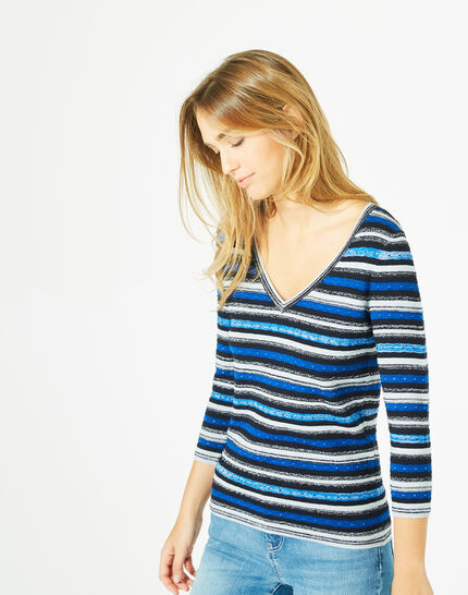 Portland striped blue sweater with rounded neckline (2) - 1-2-3