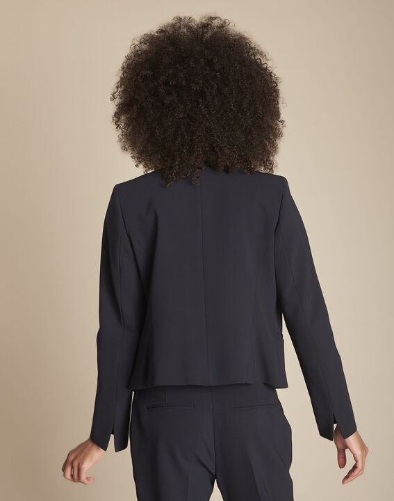 Charme navy blue microfibre and grosgrain jacket (4) - 1-2-3