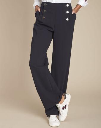 Pantalon marine à pont en microfibre hubert marine.