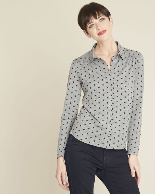Tee-shirt gris imprimé pois Gaby (2) - 1-2-3