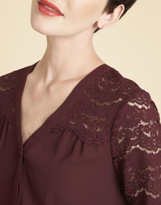 Bordeauxrode blouse van kant Colette (3) - 37653