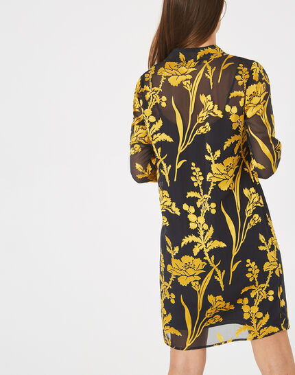 Arty gold dress with pussy bow and floral print (4) - 1-2-3