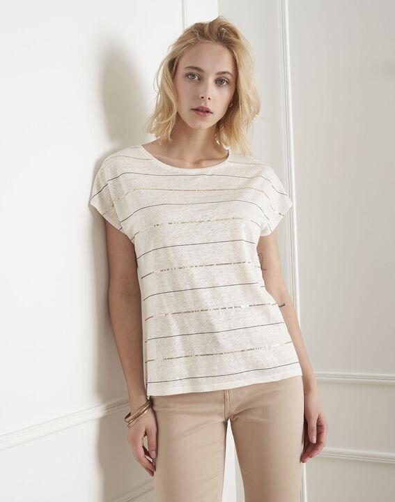 Ecrufarbenes T-Shirt mit Streifen und Metallplättchen Palmyre PhotoZ   1-2-3