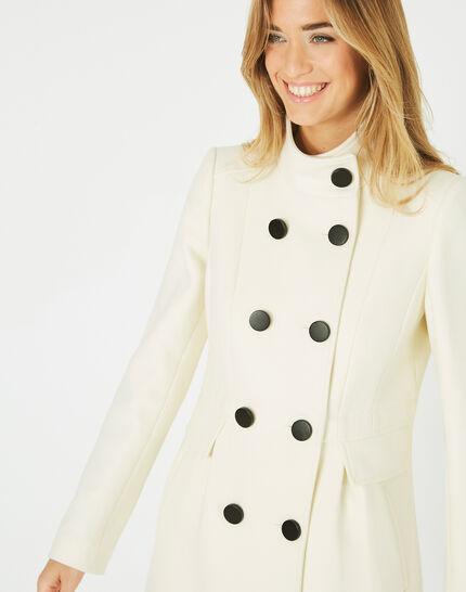 Jasmin wool mix ecru coat with high collar (1) - 1-2-3