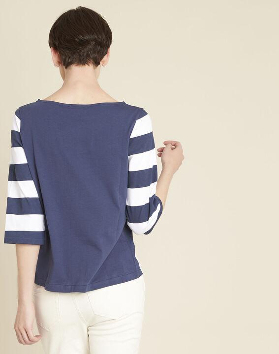 Weißes gestreiftes T-Shirt Galinette (4) - 1-2-3