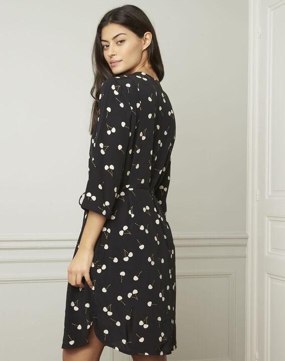 Schwarzes Kleid mit Kirschmuster, aus Viskose Linda (3) - Maison 123