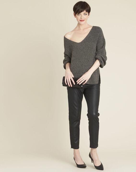 Kakifarbener Strickpullover mit V-Ausschnitt Blanche (2) - 1-2-3