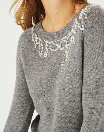 Pull gris à perles en laine mélangée perle chine moyen.