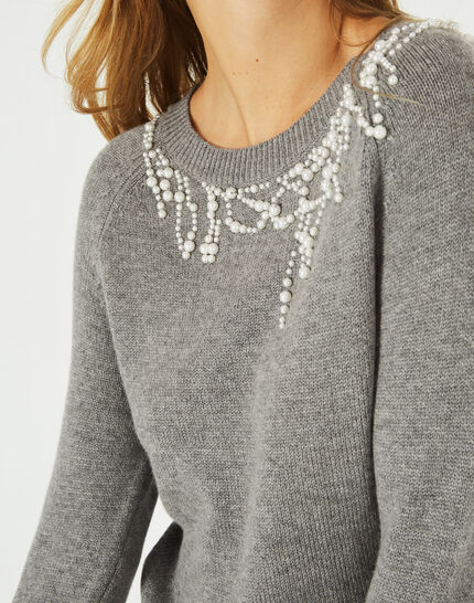 Grauer Pullover aus Woll-Mix mit Perlen Perle (2) - 1-2-3