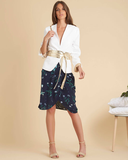 Lorine navy blue printed wrap over skirt (2) - 1-2-3