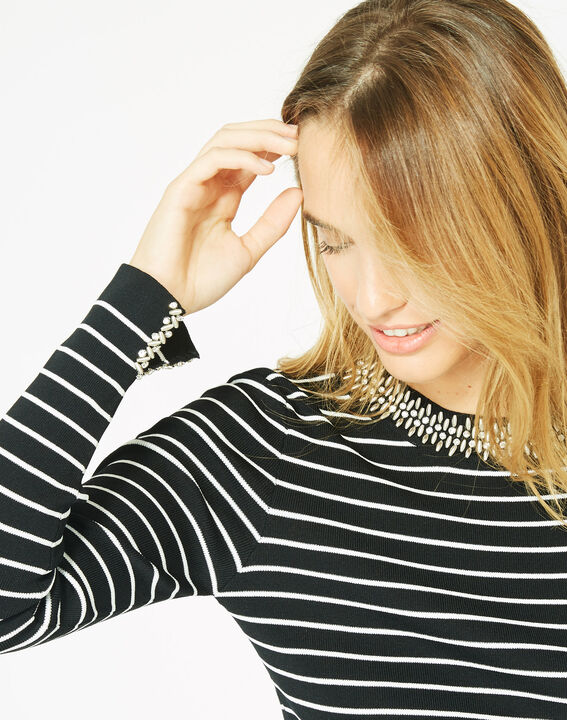 Parure black and white striped sweater in a stylish knit (2) - 1-2-3