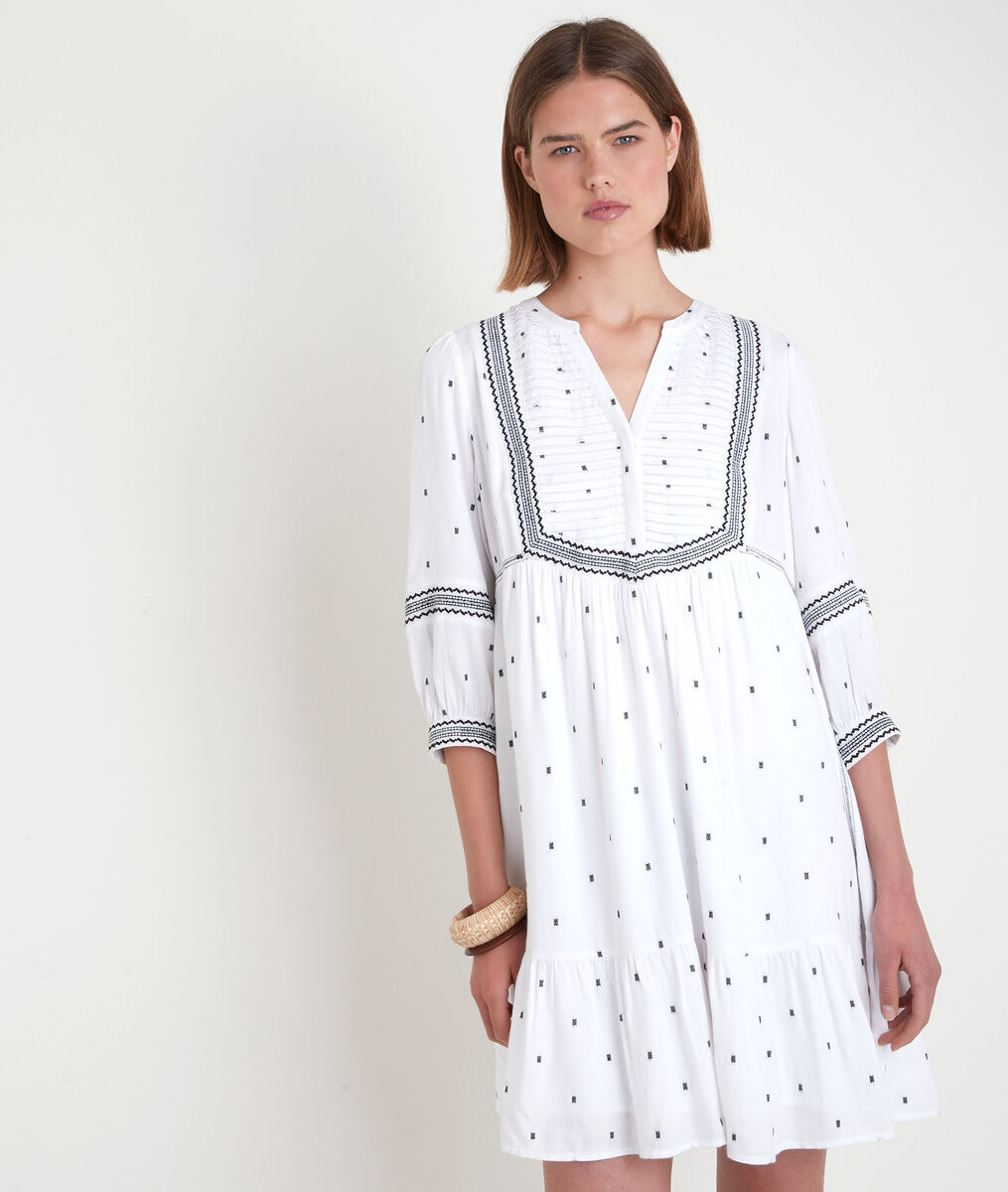 Robe courte brodée blanche Larie PhotoZ | 1-2-3