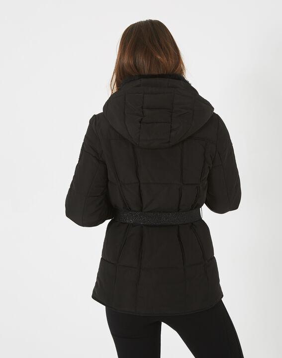 Livia black puffer jacket with a belt (4) - 1-2-3