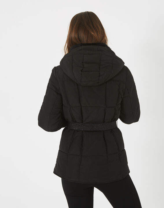 Livia black puffer jacket with a belt (4) - 1-2-3