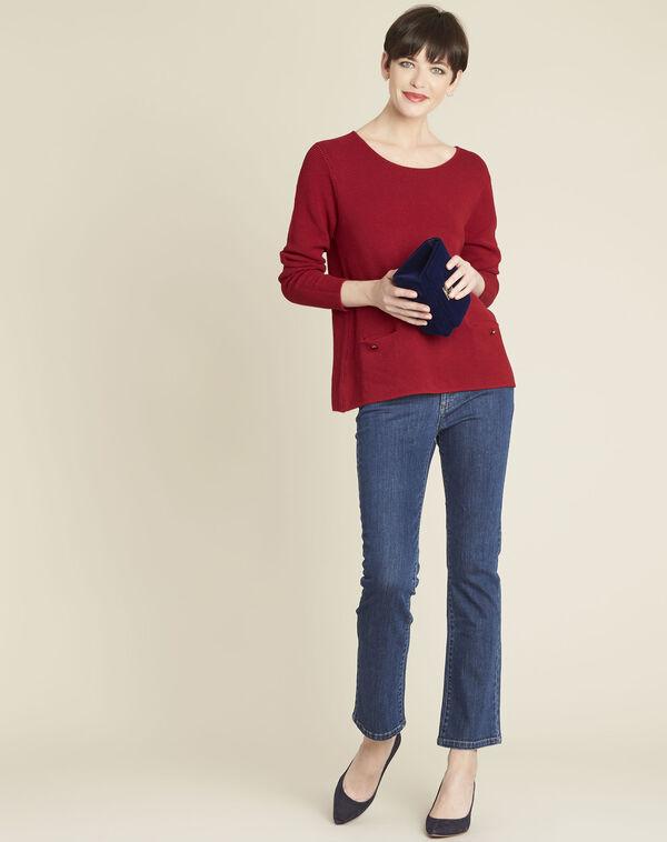 Pull rouge détails poches Blandine (2) - 1-2-3