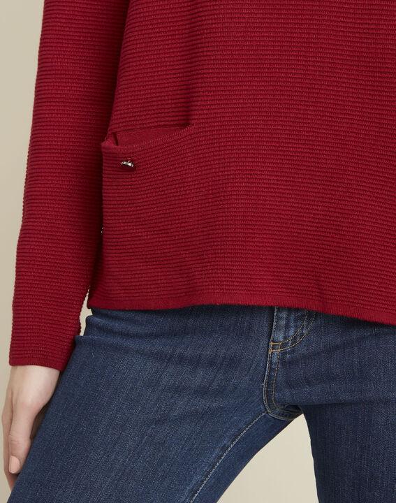 Pull rouge détails poches Blandine (3) - 1-2-3